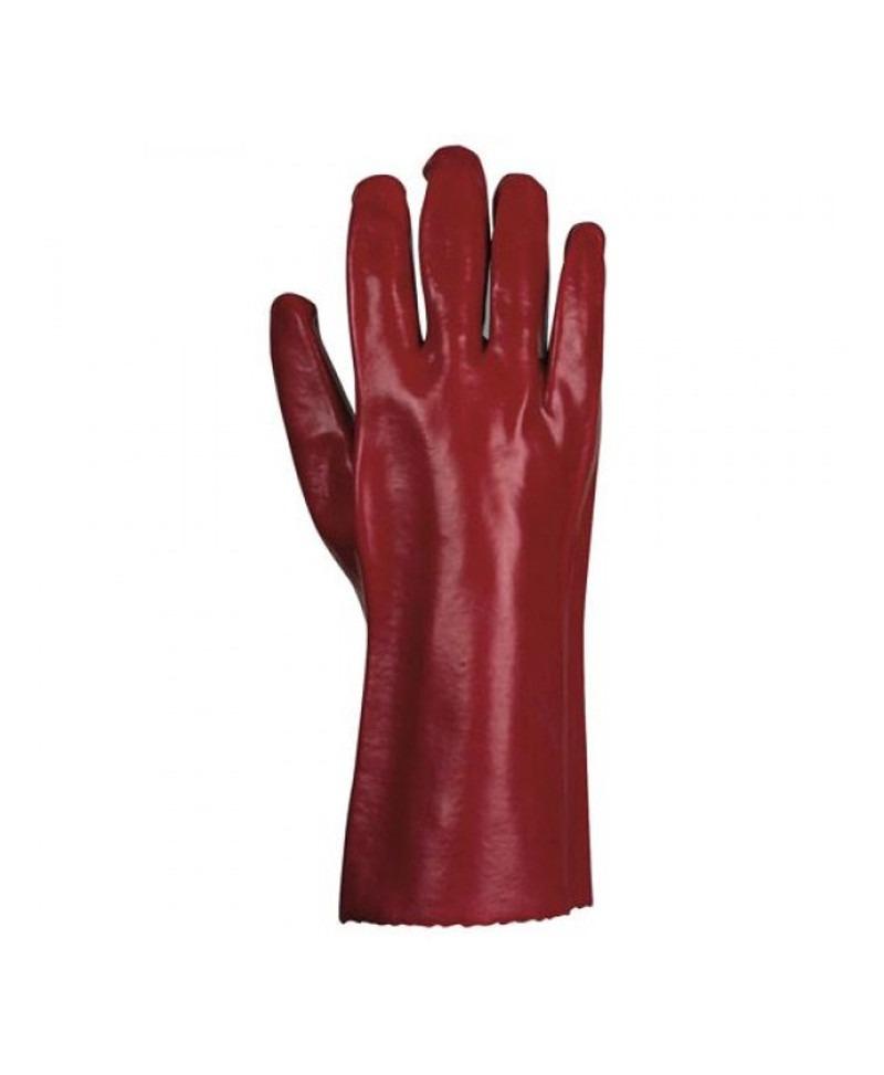Luva de algodão com 100% de revestimento em PVC vermelho - Lidermaq