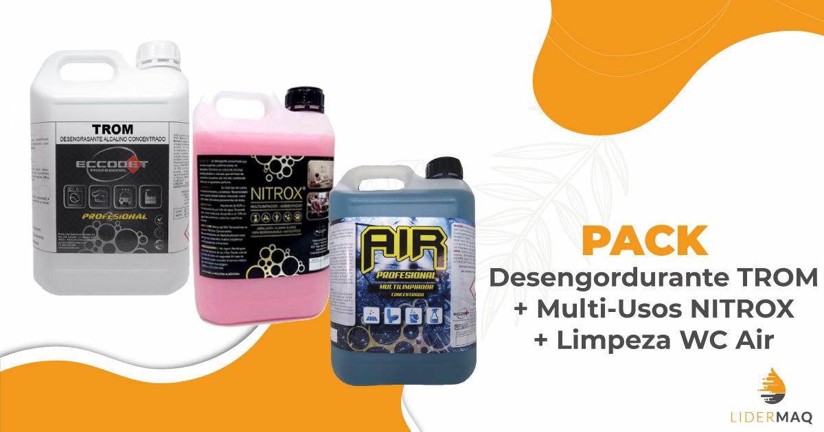 Mix Produtos : 1 x Desengordurante TROM + 1x Multi-Usos NITROX + 1 x Limpeza WC AIR