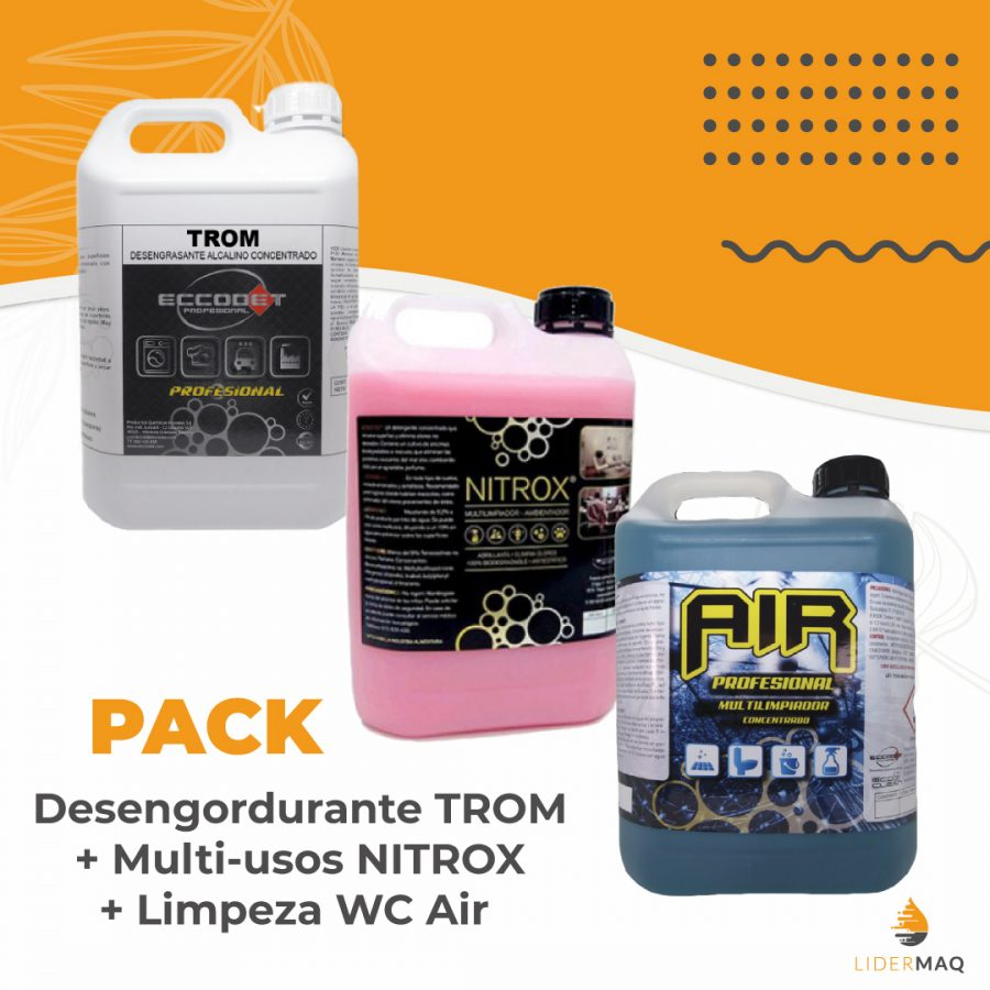 Desengordurante TROM + 1x Multi-Usos Perfumado NITROX + 1 x Produto Limpeza WC AIR